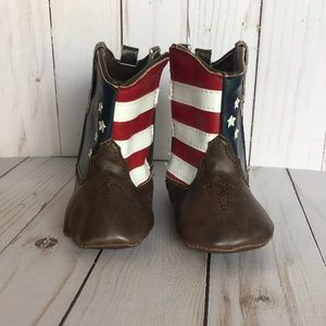 Faux Leather Baby American Flag Cowboy Boots.